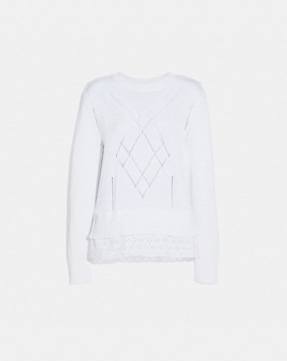 Coach SCALLOP BRODERIE ANGLAISE SWEATER