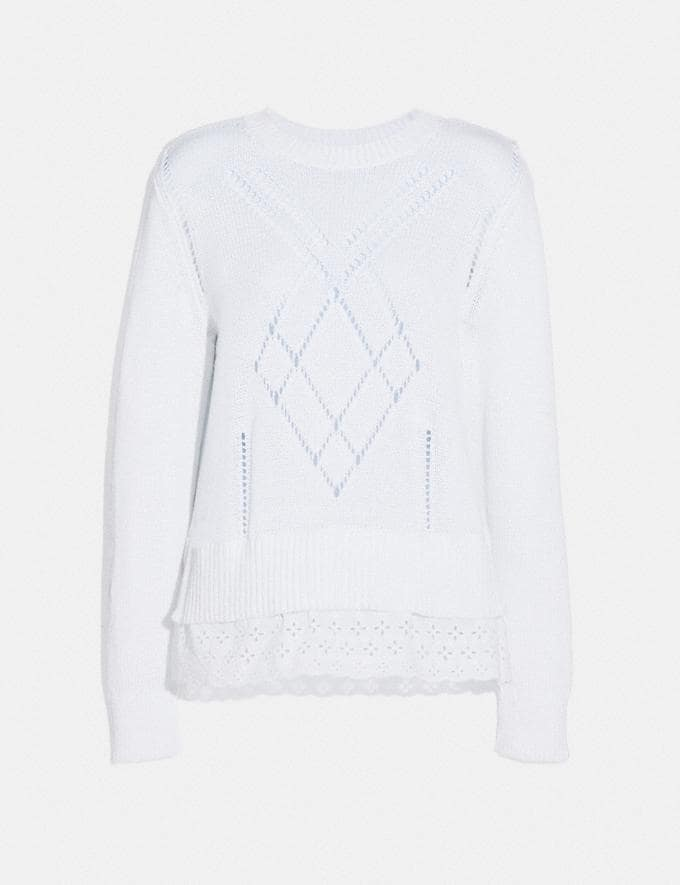 Coach Scallop Broderie Anglaise Sweater Ivory Women Ready-to-Wear Tops