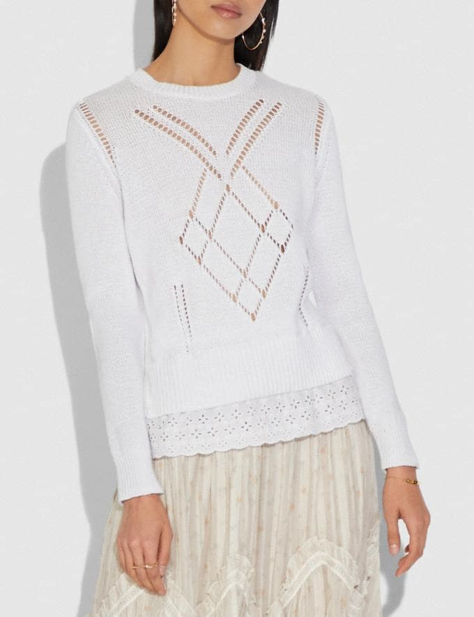 Coach Scallop Broderie Anglaise Sweater Ivory Women Ready-to-Wear Tops Alternate View 1