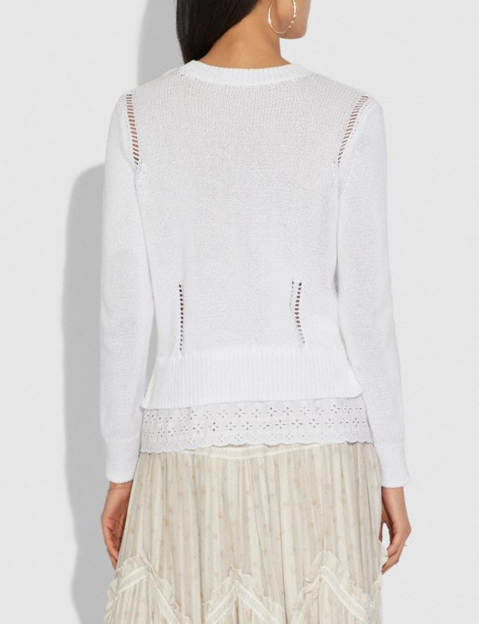 Coach Scallop Broderie Anglaise Sweater Ivory Women Ready-to-Wear Tops Alternate View 2