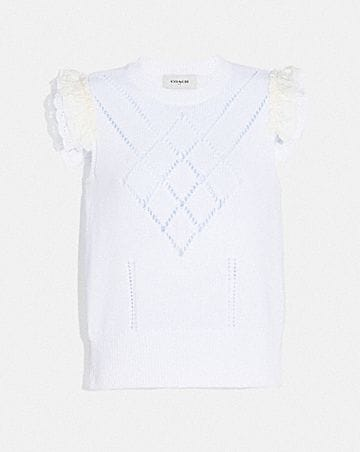 BRODERIE ANGLAISE SLEEVELESS SWEATER
