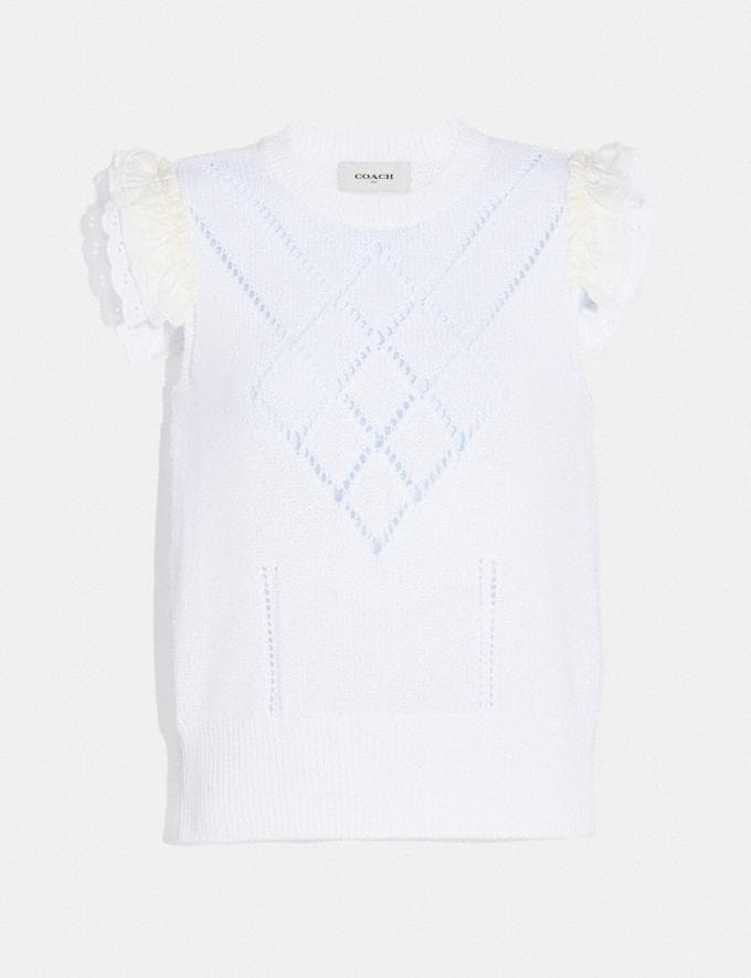 Coach Broderie Anglaise Sleeveless Sweater Ivory