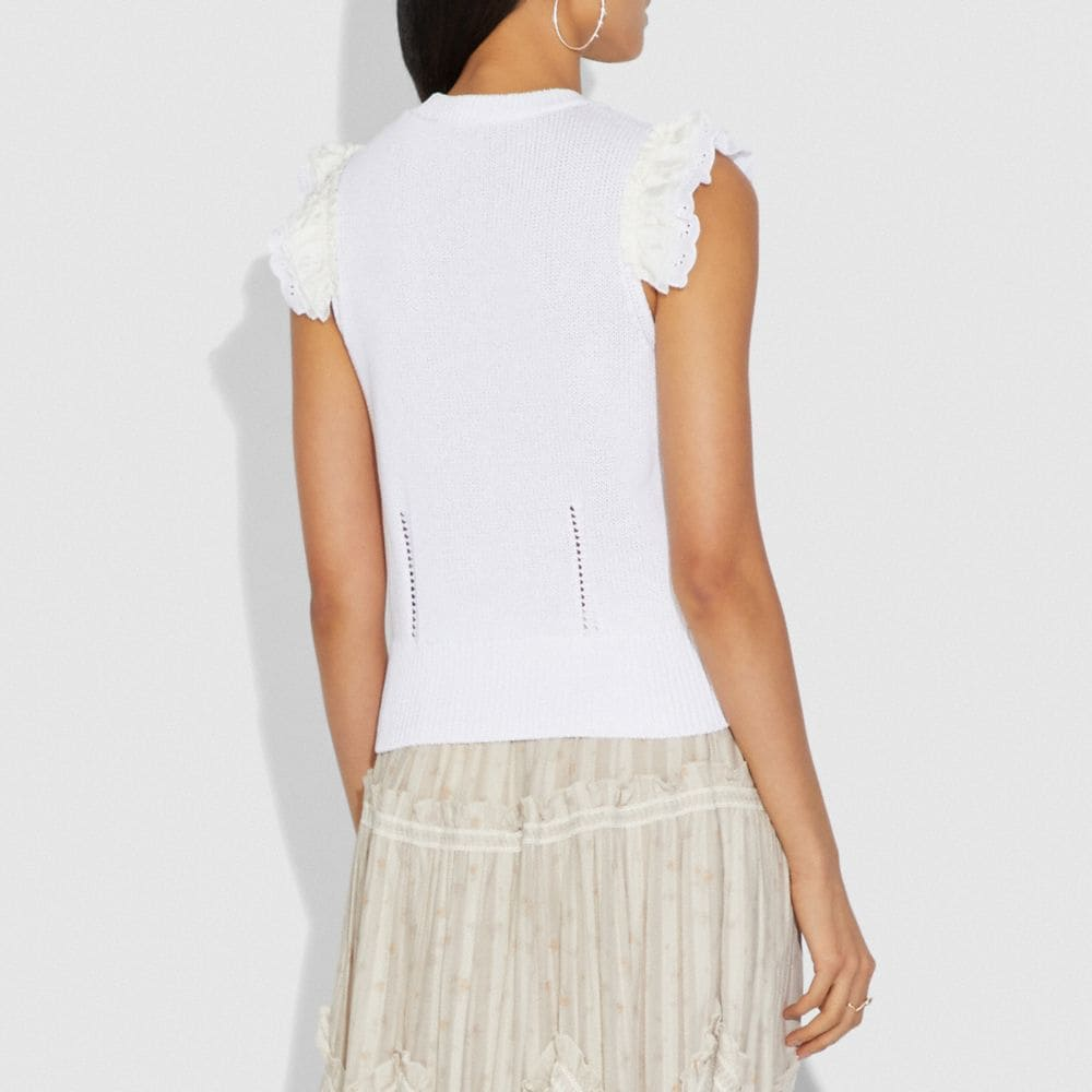 Coach Broderie Anglaise Sleeveless Sweater Alternate View 2