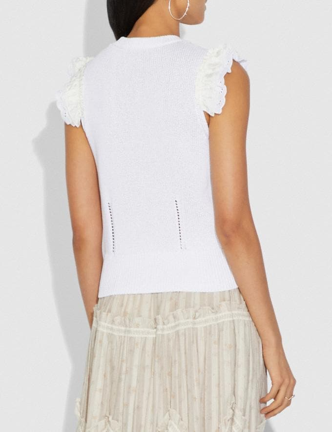 Coach Broderie Anglaise Sleeveless Sweater Ivory  Alternate View 2