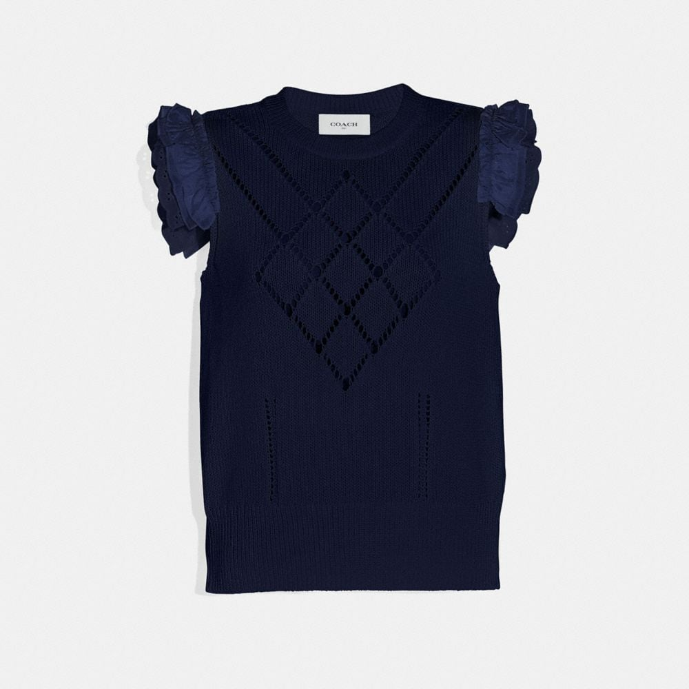 Coach Broderie Anglaise Sleeveless Sweater