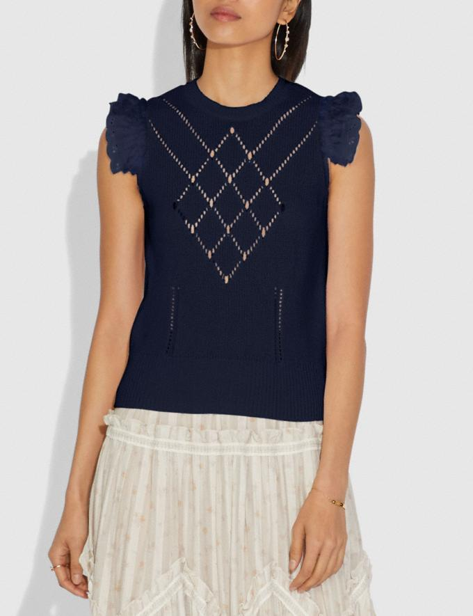 Coach Broderie Anglaise Sleeveless Sweater Navy New Women's New Arrivals Ready-to-Wear Alternate View 1