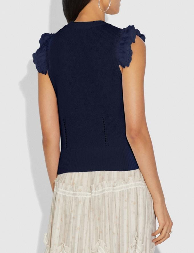 Coach Broderie Anglaise Sleeveless Sweater Navy New Women's New Arrivals Ready-to-Wear Alternate View 2
