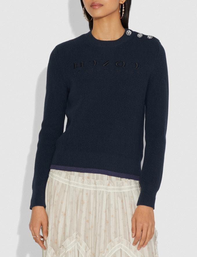 Coach Reverse Coach Sweater Navy  Alternate View 1