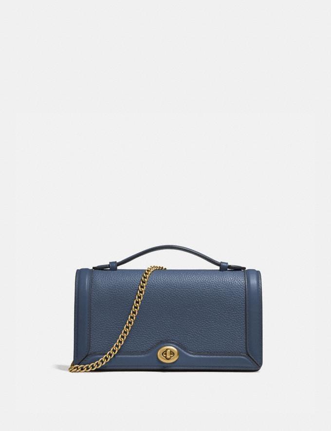 Coach Riley Chain Clutch Brass/Dark Denim Women Handbags Clutches