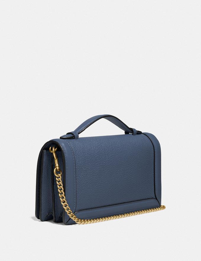 Coach Riley Chain Clutch Brass/Dark Denim Women Handbags Clutches Alternate View 1