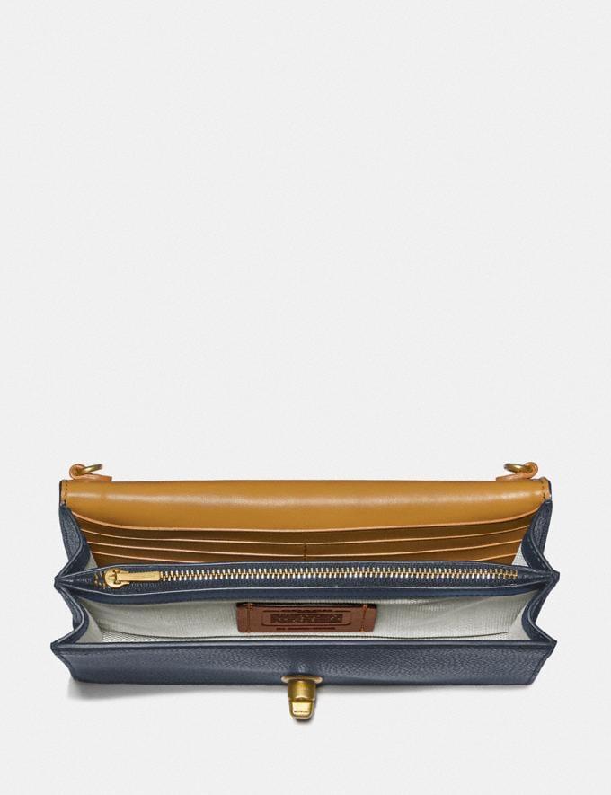 Coach Riley Chain Clutch Brass/Dark Denim Women Handbags Clutches Alternate View 2