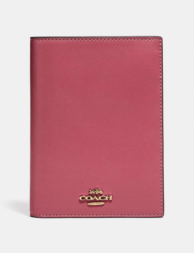 Coach Passport Case Oxblood/Brass