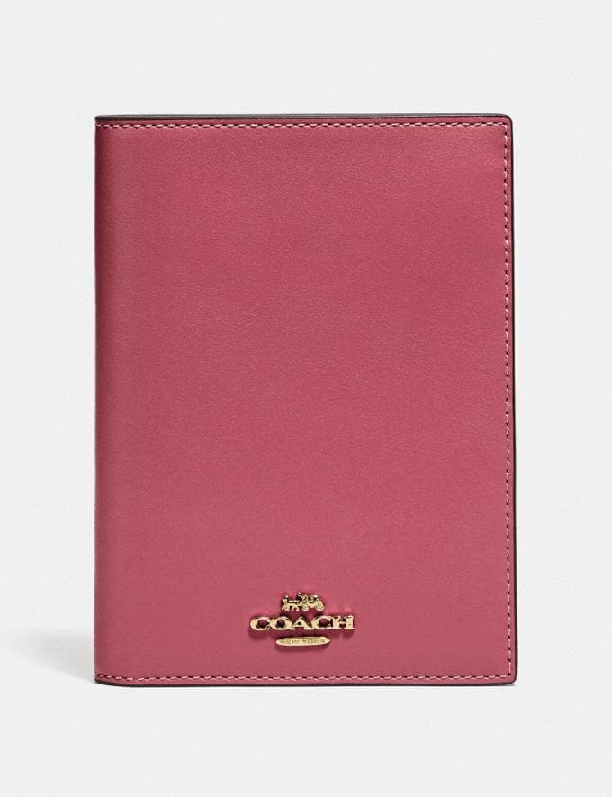 Coach Passport Case Bright Cherry/Gold Women Accessories Tech & Travel