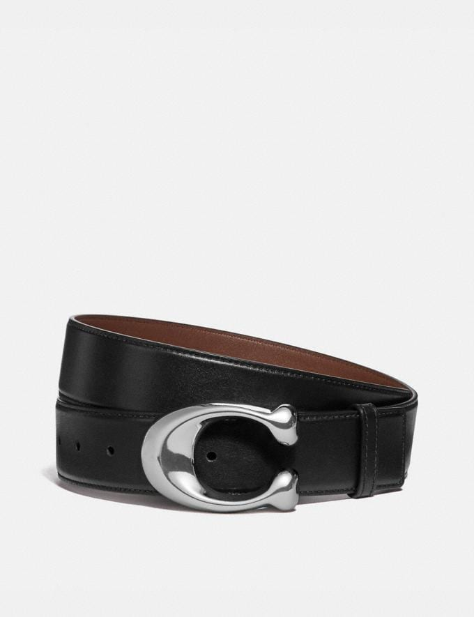 Coach Signature Buckle Cut-To-Size Dress Belt, 38mm Black/Saddle Men Accessories Belts