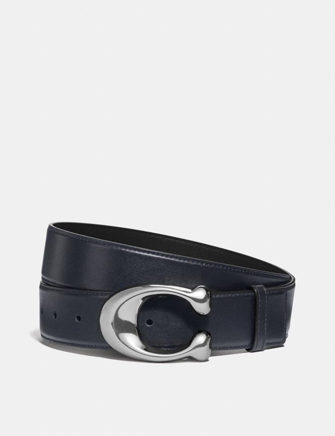 Coach Signature Buckle Cut-To-Size Dress Belt, 38mm Midnight/Black Men Accessories Belts