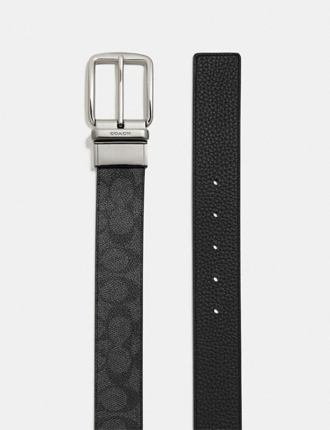 Coach Boxed Belt in Signature Canvas Black/Charcoal Men Edits Work Alternate View 1