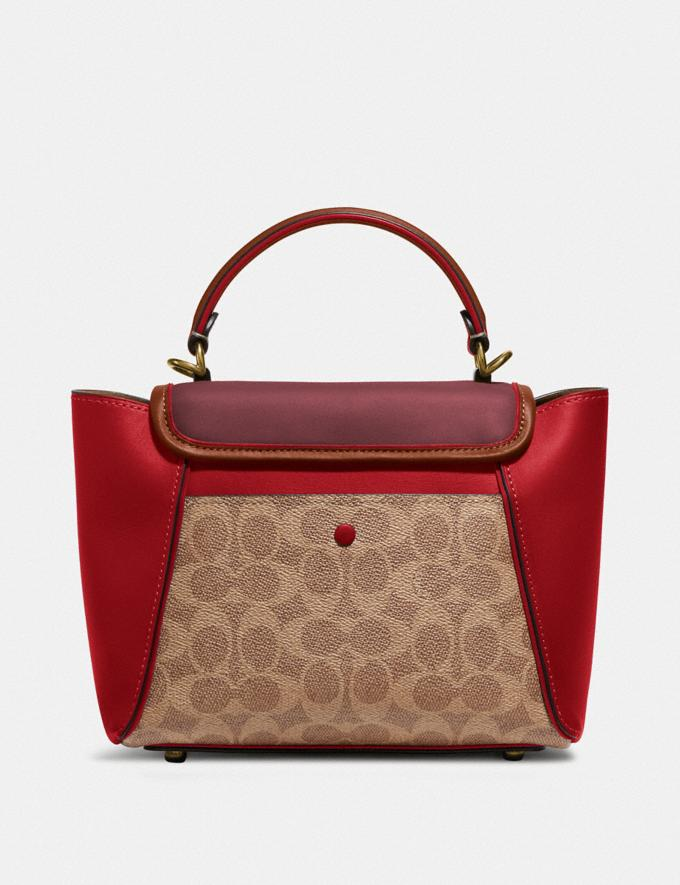 Coach Courier Carryall 23 in Colorblock Signature Canvas Brass/Tan Red Apple Multi Women Bags Satchels Alternate View 2