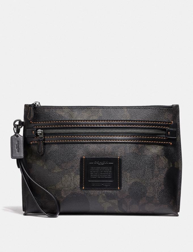 Coach Academy Pouch in Signature Canvas With Wild Beast Print Brown/Black Men Bags Pouches