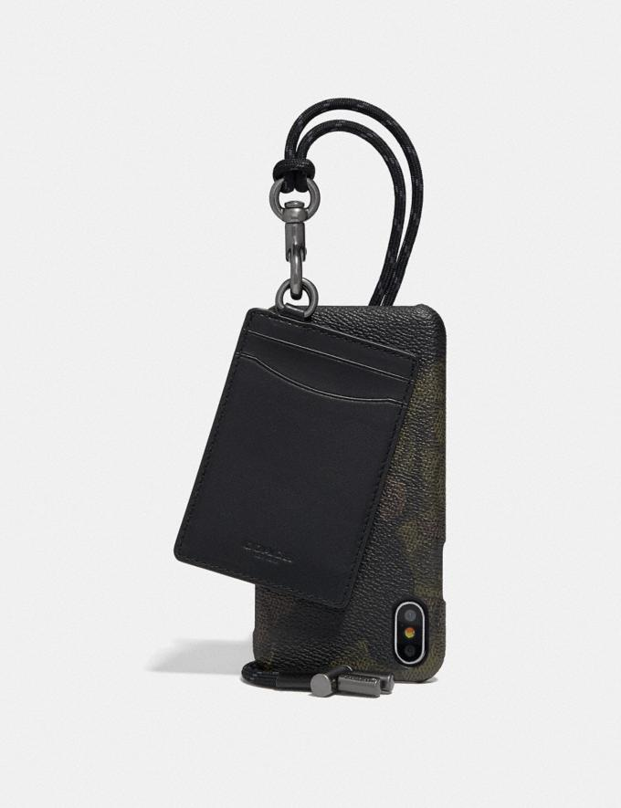 Coach iPhone X/Xs Card Case Lanyard in Signature Canvas With Wild Beast Print Brown/Black 30% off Select Full-Price Styles