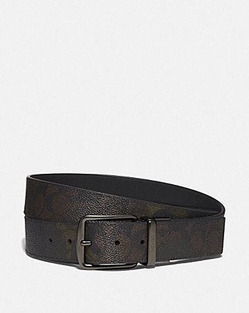 CUT-TO-SIZE REVERSIBLE BELT IN SIGNATURE CANVAS WITH WILD BEAST PRINT