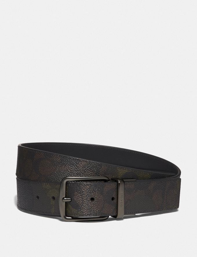 Coach Cut-To-Size Reversible Belt in Signature Canvas With Wild Beast Print Brown/Black Men Accessories