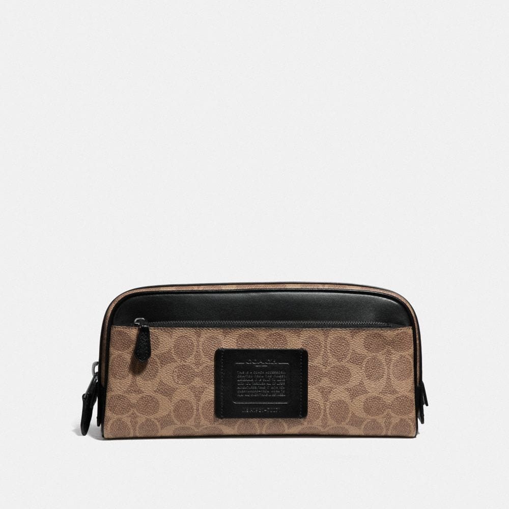 DOUBLE ZIP DOPP KIT IN SIGNATURE CANVAS