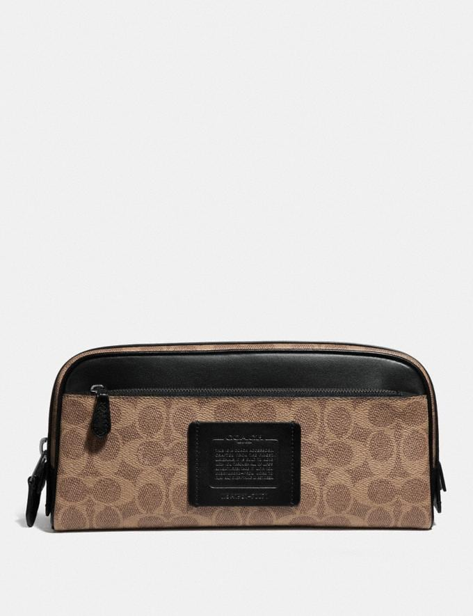 Coach Double Zip Dopp Kit in Signature Canvas Khaki 30% off Select Full-Price Styles