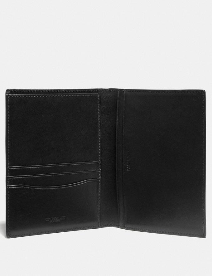 Coach Passport Case With Line Arrow Print Black/Chalk New Men's New Arrivals Accessories Alternate View 1