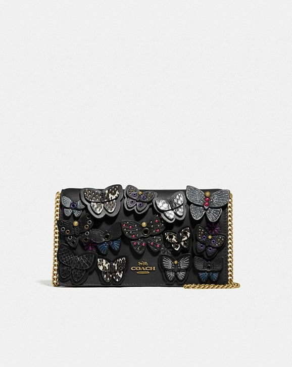 Coach CALLIE FOLDOVER CHAIN CLUTCH WITH BUTTERFLY APPLIQUE