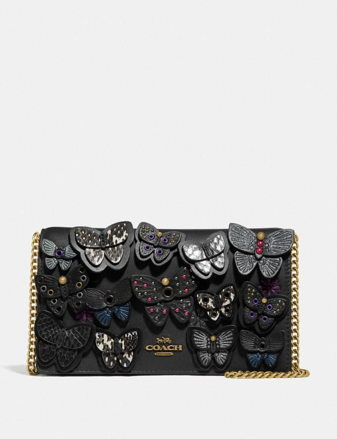 Coach Callie Foldover Chain Clutch With Butterfly Applique Black Multi/Brass New Women's Trends Butterfly Applique