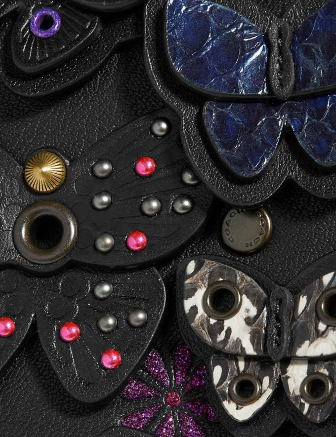 Coach Callie Foldover Chain Clutch With Butterfly Applique Black Multi/Brass Women Bags Crossbody Bags Alternate View 3