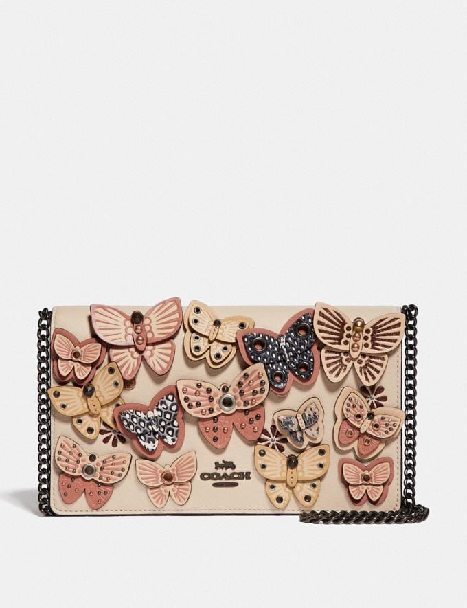 Coach Callie Foldover Chain Clutch With Butterfly Applique Ivory Multi/Pewter New Women's Trends Butterfly Applique