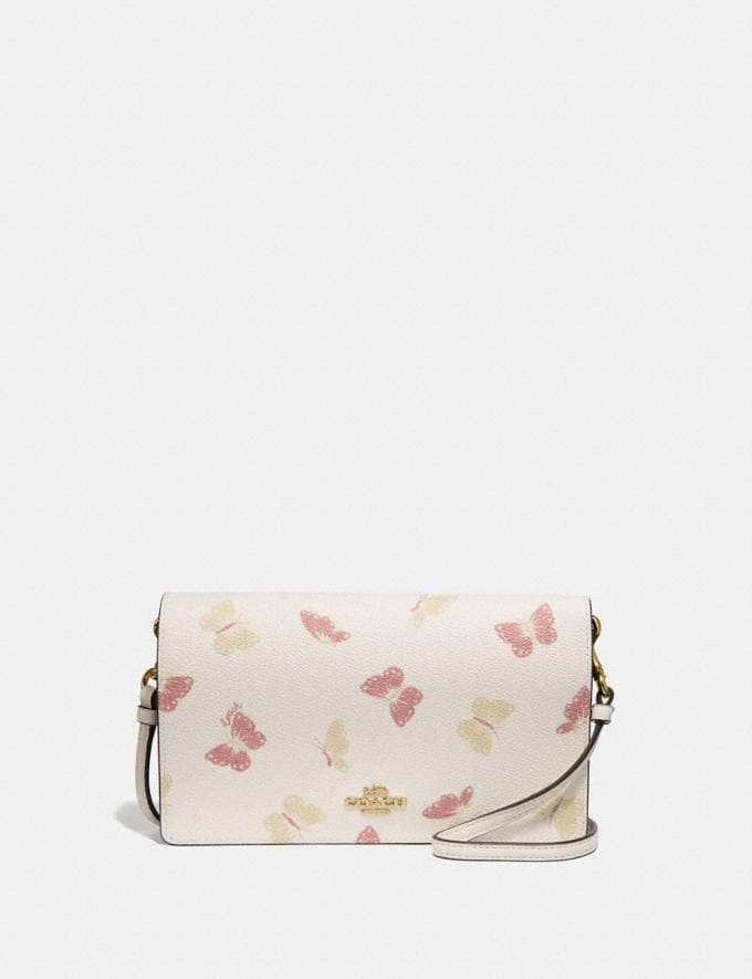 Coach Hayden Foldover Crossbody Clutch With Butterfly Print Chalk/Gold Women Small Leather Goods Crossbody Wallets