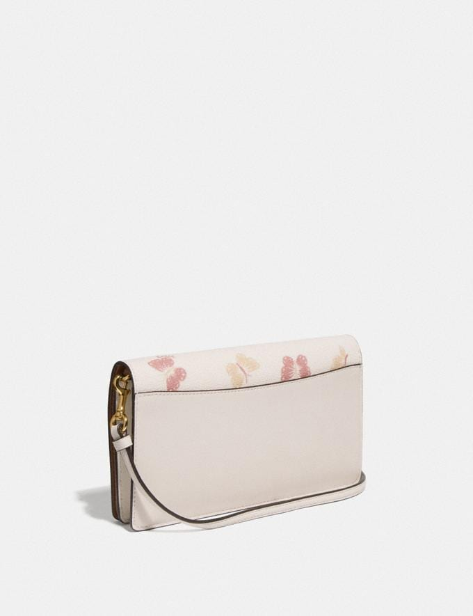 Coach Hayden Foldover Crossbody Clutch With Butterfly Print Chalk/Gold Women Small Leather Goods Crossbody Wallets Alternate View 1