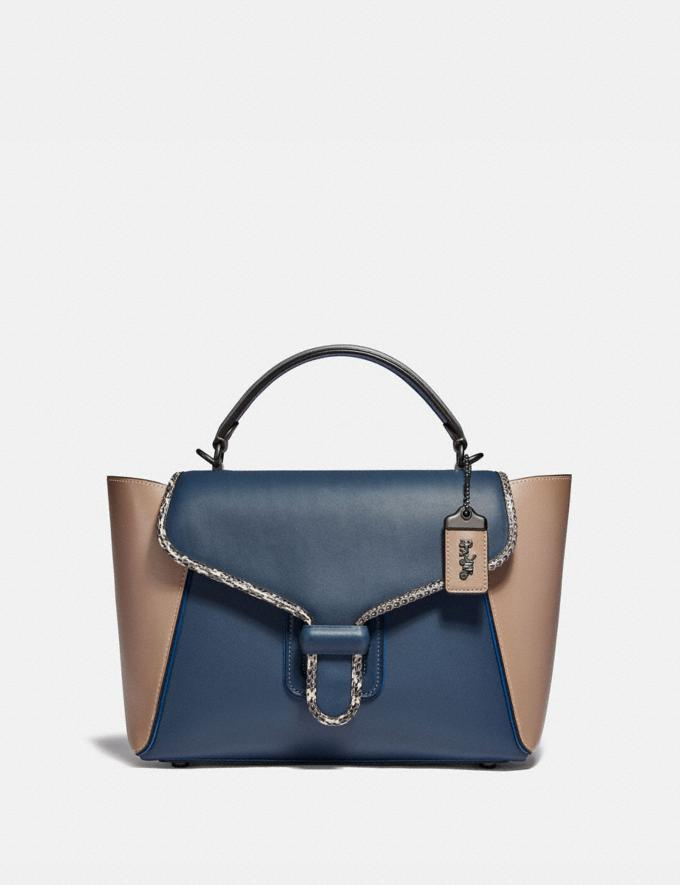 Coach Courier Carryall in Colorblock Leather With Snakeskin Detail Pewter/Dark Denim Multi Damen Taschen Satchels