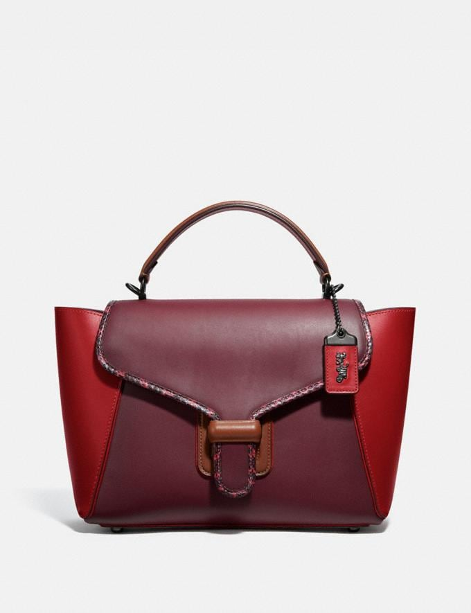 Coach Courier Carryall in Colorblock Leather With Snakeskin Detail Pewter/Red Apple Multi Women Bags Satchels