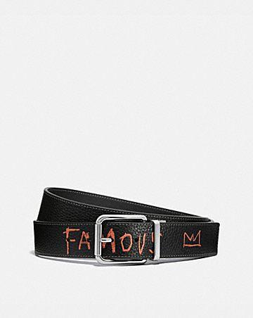ceinture réversible sur mesure coach x jean-michel basquiat avec boucle harness