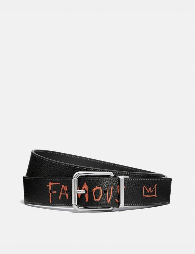Coach Coach X Jean-Michel Basquiat Harness Buckle Cut-To-Size Reversible Belt Black Men Accessories Belts