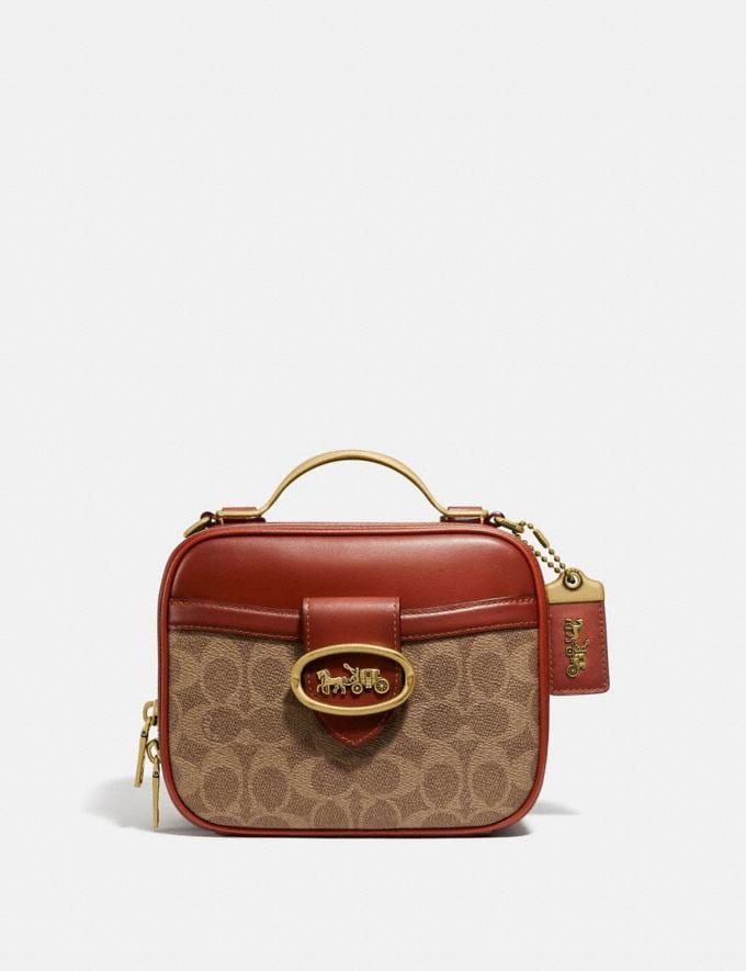 Coach Riley Lunchbox Bag in Signature Canvas Brass/Tan Rust Cyber Monday DAMEN Cyber Monday für sie