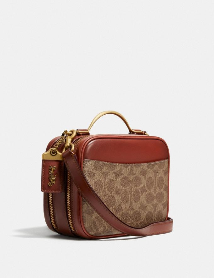 Coach Riley Lunchbox Bag in Signature Canvas Brass/Tan Rust Cyber Monday DAMEN Cyber Monday für sie Alternative Ansicht 1