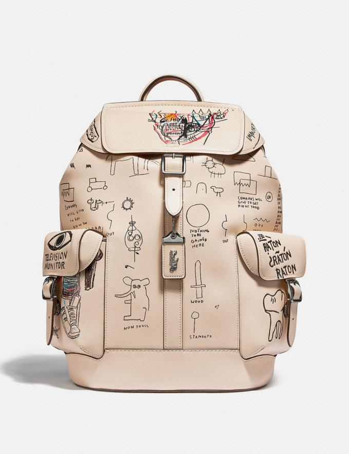 Coach Coach X Jean-Michel Basquiat Wells Backpack Nickel/Ivory Men Bags Backpacks