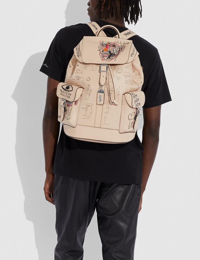 Coach Coach X Jean-Michel Basquiat Wells Backpack Nickel/Ivory Men Bags Backpacks Alternate View 4