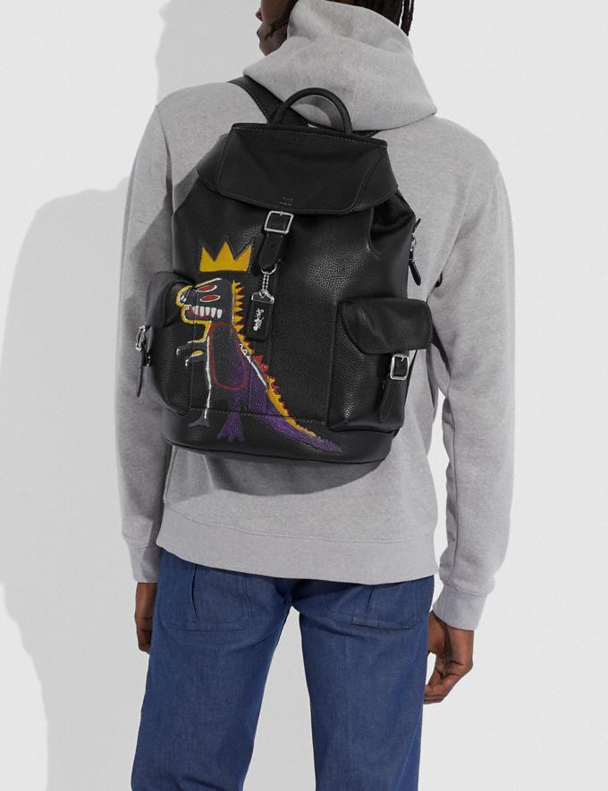 Coach Coach X Jean-Michel Basquiat Wells Backpack Nickel/Black Men Bags Backpacks Alternate View 4