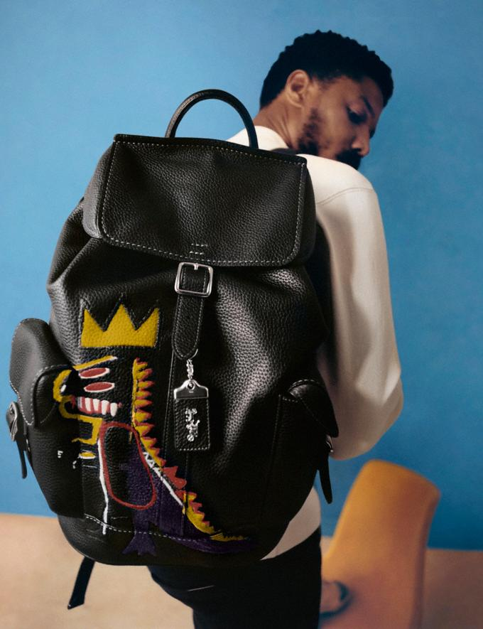 Coach Coach X Jean-Michel Basquiat Wells Backpack Nickel/Black Men Bags Backpacks Alternate View 5