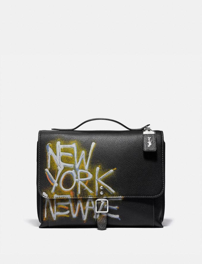 Coach Coach X Jean-Michel Basquiat Rogue Messenger Nickel/Black Men Bags Messenger Bags