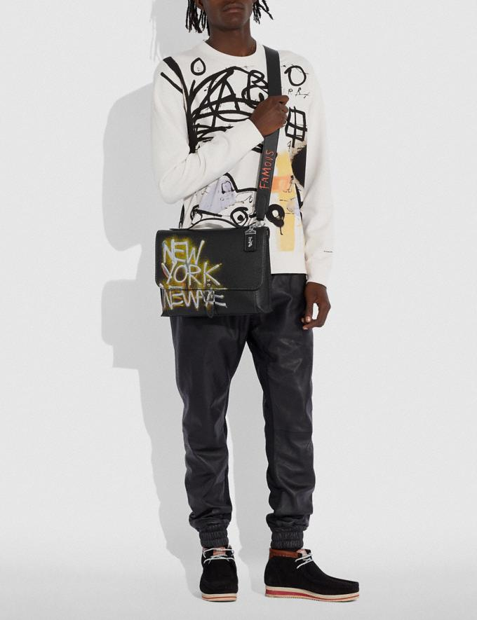 Coach Coach X Jean-Michel Basquiat Rogue Messenger Nickel/Black Men Bags Messenger Bags Alternate View 4