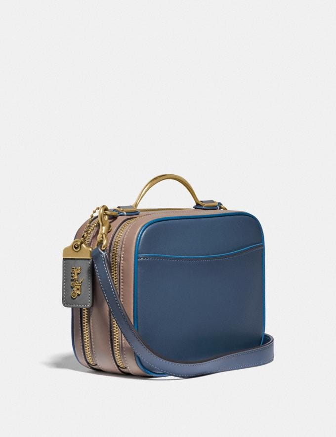 Coach Riley Lunchbox Bag in Colorblock Brass/Dark Denim Multi Women Bags Crossbody Bags Alternate View 1