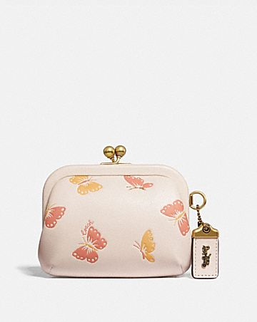 KISSLOCK COIN PURSE WITH BUTTERFLY PRINT