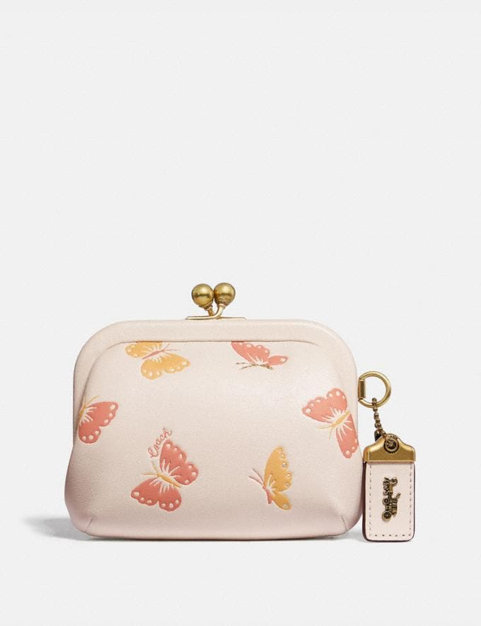 Coach Kisslock Coin Purse With Butterfly Print Chalk/Brass Women Small Leather Goods Small Wallets