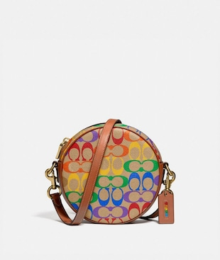 CIRCLE CROSSBODY IN RAINBOW SIGNATURE CANVAS